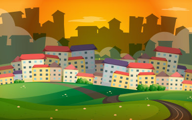 Background scene with many houses in village illustration