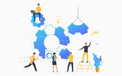 Cogwheels and businesspeople working among them. Business process, gear, teamwork. Management concept. Vector illustration can be used for presentation slide, posters, banners